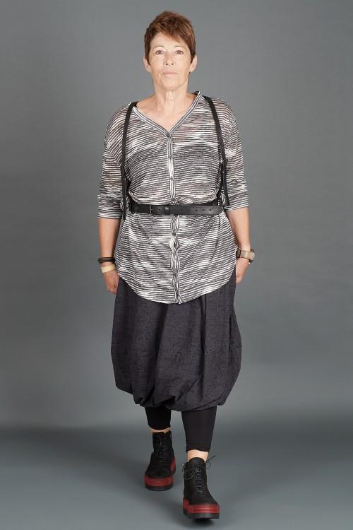 Black By K&M Generous Shirt BK195279 ,Rundholz Leather Harness Belt RH195016 ,Rundholz Black Label Skirt RH195068 ,Lofina Boots  LF195271