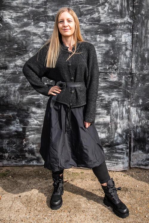 Lurdes Bergada Coated Knitted Cardigan LB195192, Vetono Skirt VT195264, Rundholz Leather Belt RH195014, Rundholz Black Label Boots RH195161