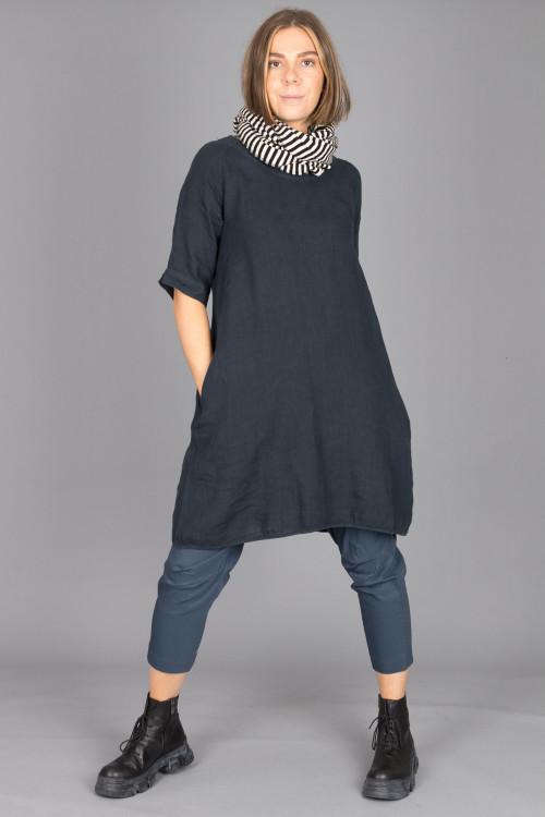 By Basics Linen Dress BB100077 ,Rundholz Black Label Trousers RH210145 ,Lofina Crackled Black Boots LF210024 ,By Basics Scarf BB100042