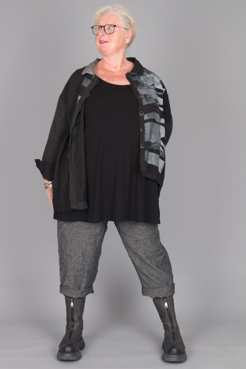 By Basics U-Top Wide BB105064 ,Mara Gibbucci Print Button Shirt MG215098 ,Mara Gibbucci Stripe Pants MG215109 ,Lofina Tall Zip Boots LF215088