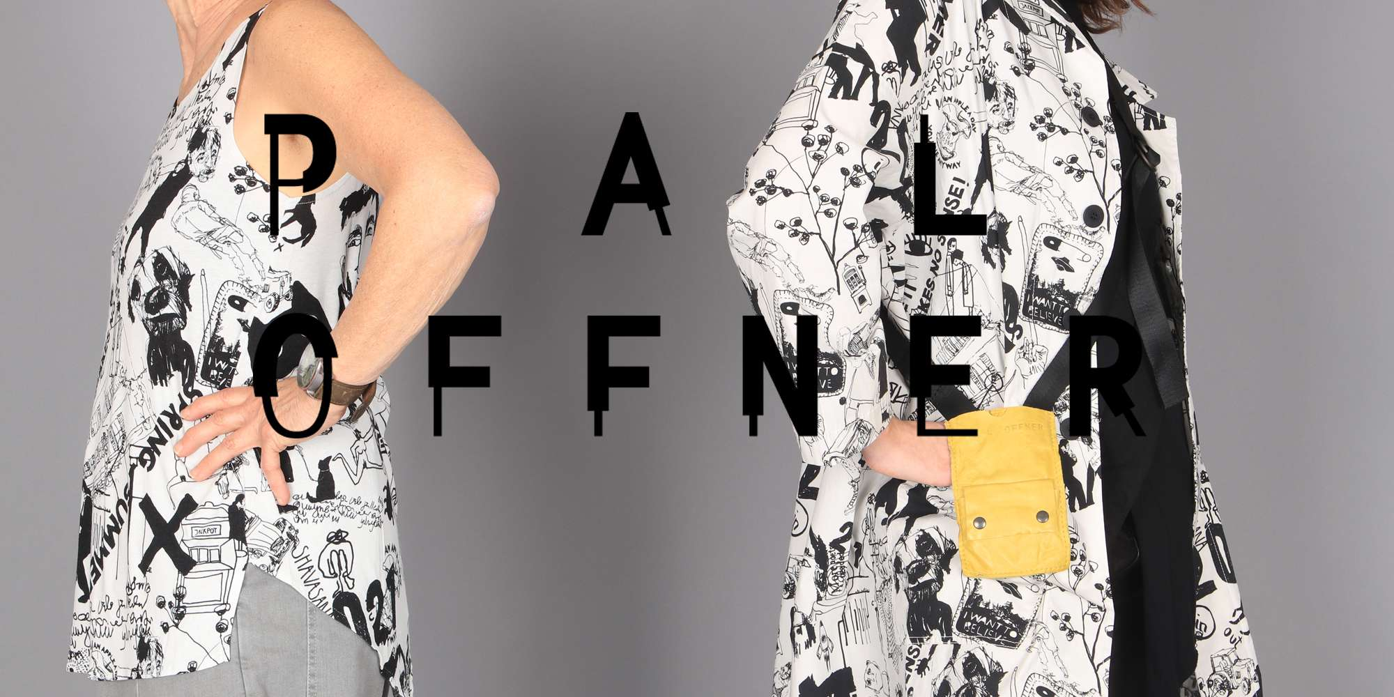 Pal Offner at Walkers.Style online women's fashion and clothing shop - Pal Offner SS21 collection collection features a black and white doodle print design.
