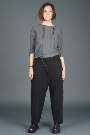 lb195179 - Lurdes Bergada Asymmetric Buttoned Pants @ Walkers.Style women's and ladies fashion clothing online shop