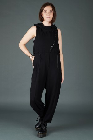 lb195198 - Lurdes Bergada Buttoned Hooded Jumpsuit @ Walkers.Style women's and ladies fashion clothing online shop