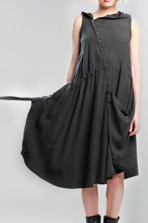 lb200023 - Lurdes Bergada Hooded Dress @ Walkers.Style women's and ladies fashion clothing online shop