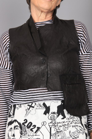 po210054 - Pal Offner Leather Waistcoat @ Walkers.Style women's and ladies fashion clothing online shop