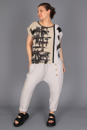 mg210271 - Mara Gibbucci Linen Printed Top @ Walkers.Style buy women's clothes online or at our Norwich shop.