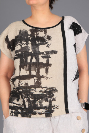 mg210271 - Mara Gibbucci Linen Printed Top @ Walkers.Style women's and ladies fashion clothing online shop